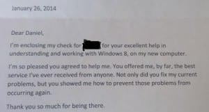 Sweet Letter from happy client!